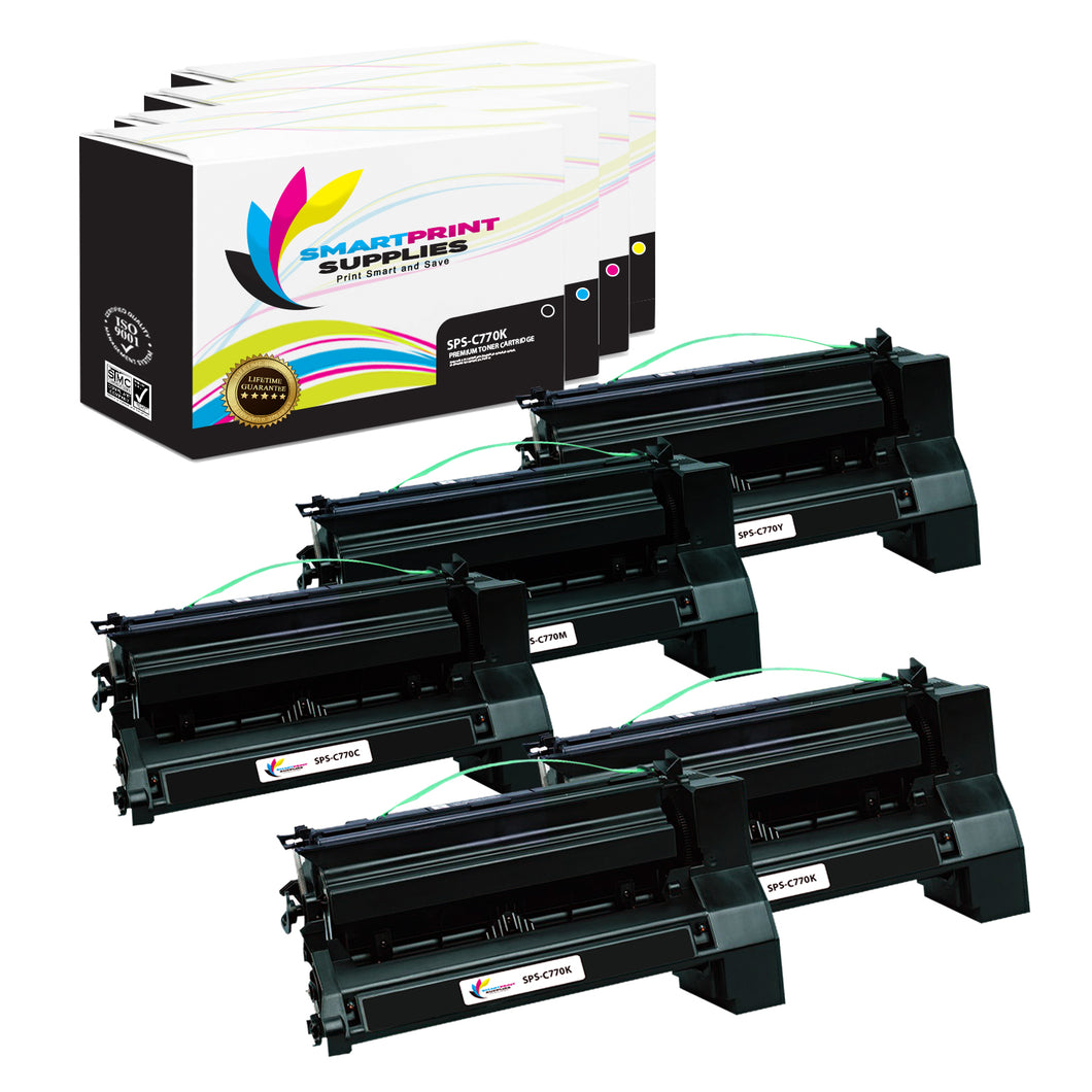 5 Pack Lexmark C770 Replacement (CMYK) Toner Cartridge by Smart Print Supplies