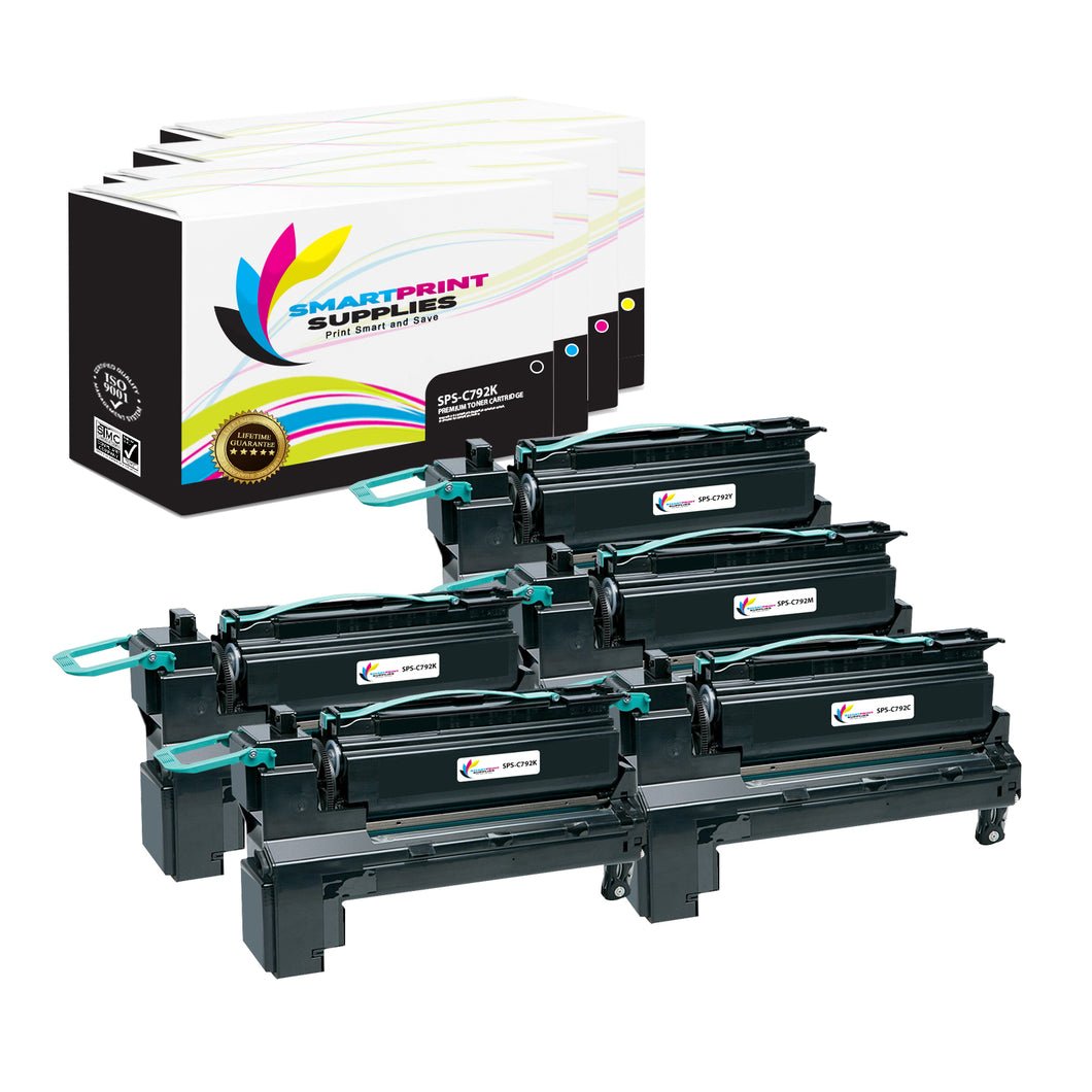 5 Pack Lexmark C792A1 Replacement (CMYK) Toner Cartridge by Smart Print Supplies