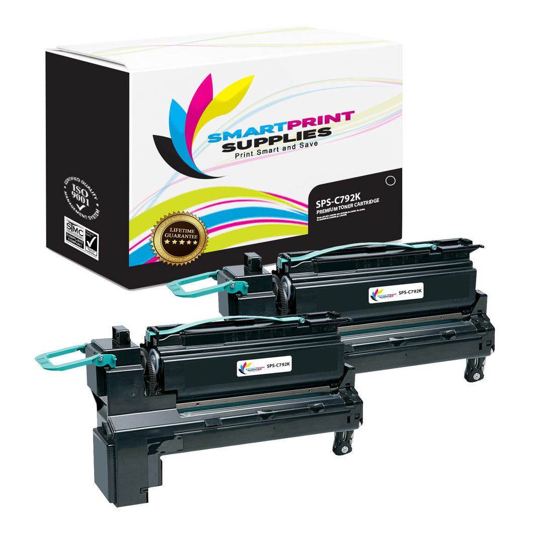 2 Pack Lexmark C792A1 Replacement Black Toner Cartridge by Smart Print Supplies