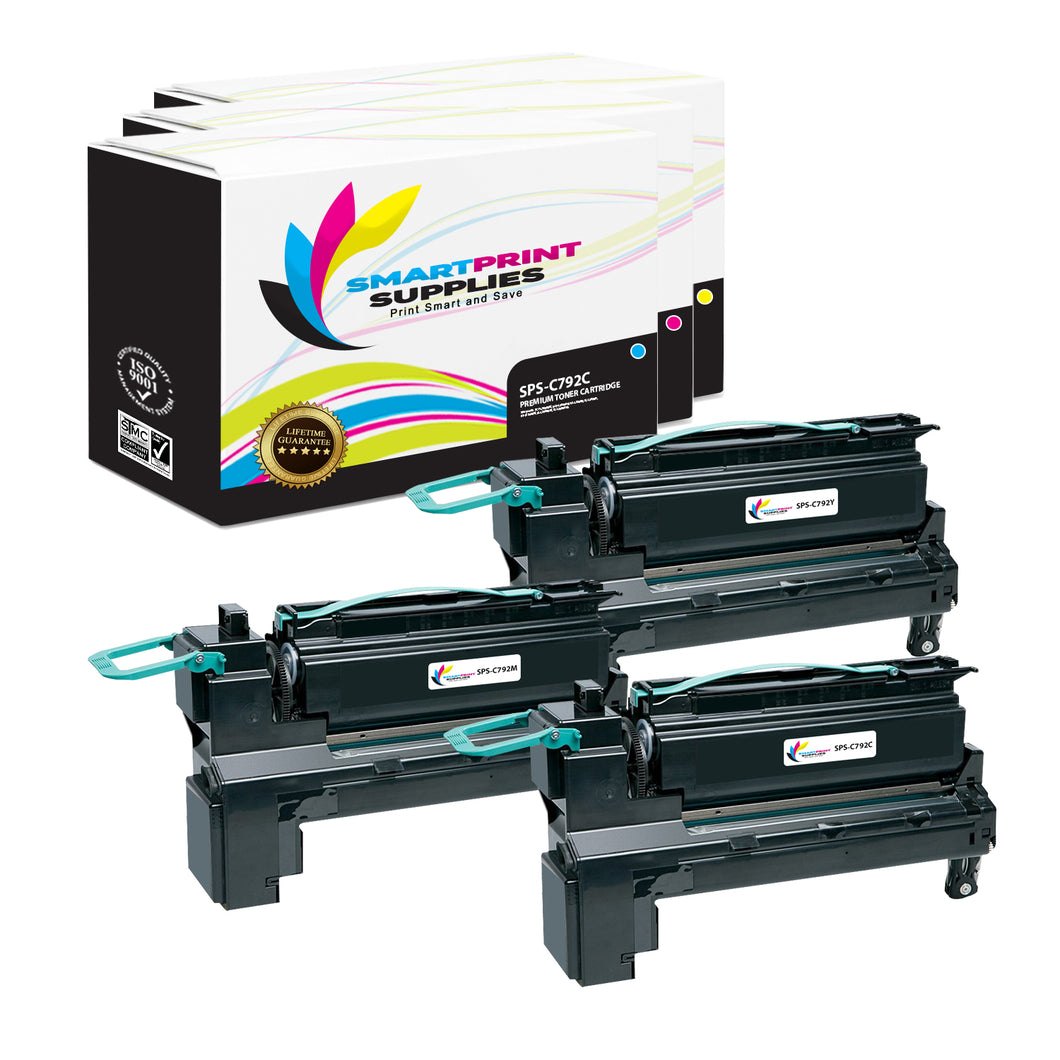3 Pack Lexmark C792A1 Replacement (CMY) Toner Cartridge by Smart Print Supplies