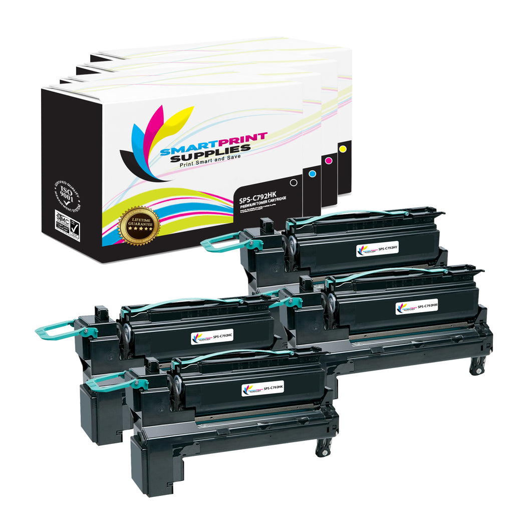 4 Pack Lexmark C792 Replacement (CMYK) Toner Cartridge by Smart Print Supplies