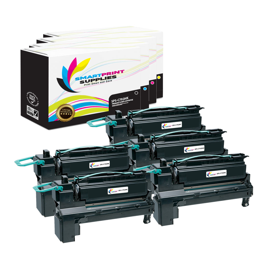 5 Pack Lexmark C792 Replacement (CMYK) Toner Cartridge by Smart Print Supplies
