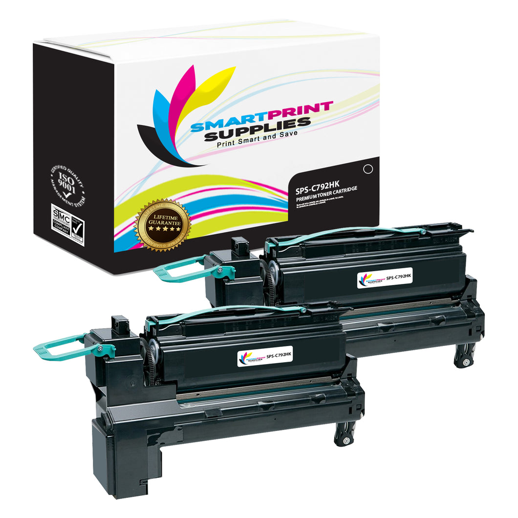 2 Pack Lexmark C792 Replacement Black Toner Cartridge by Smart Print Supplies