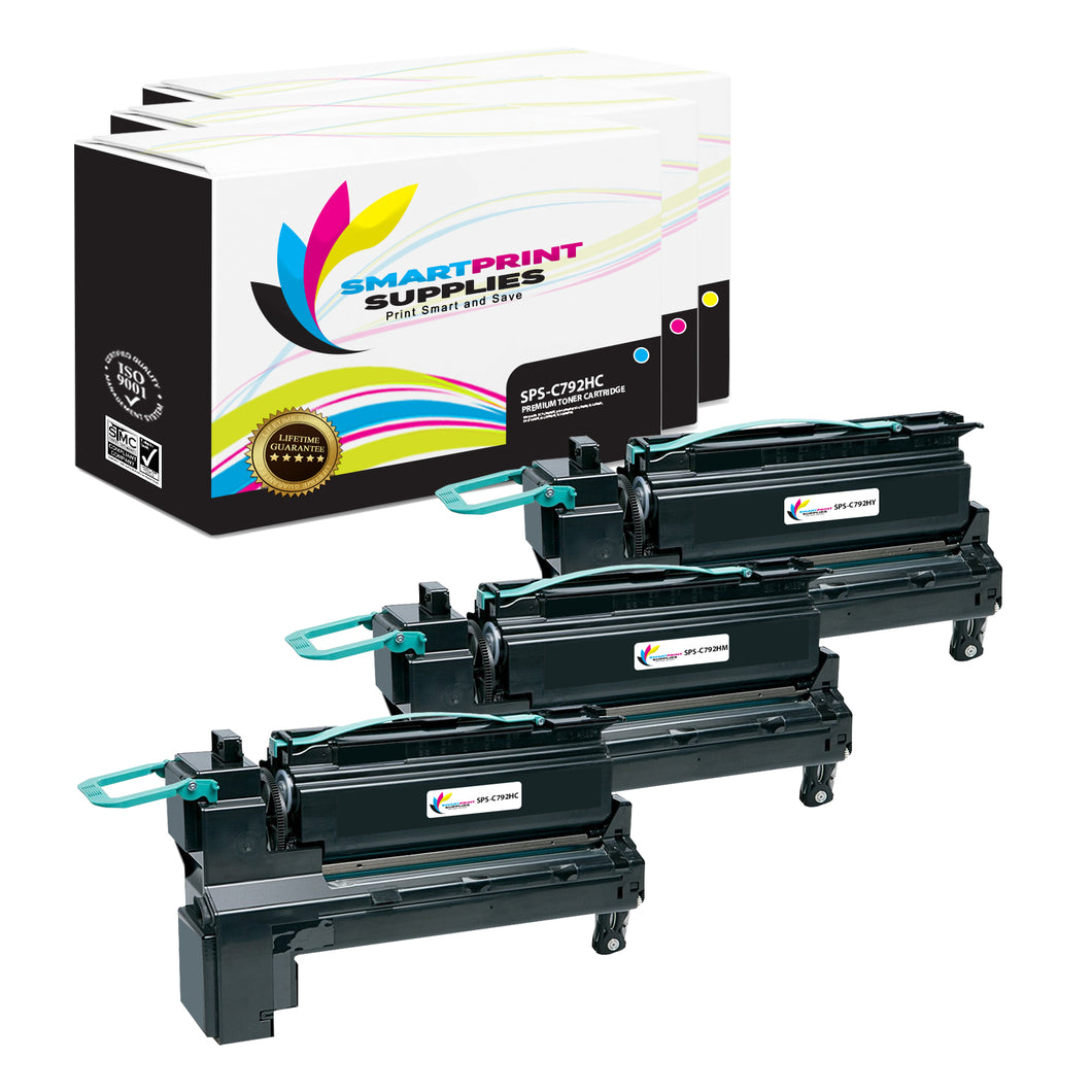 3 Pack Lexmark C792 Replacement (CMY) Toner Cartridge by Smart Print Supplies