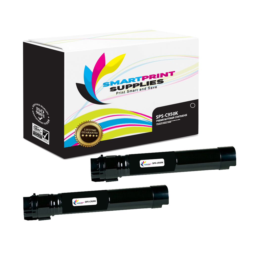 2 Pack Lexmark C950 Replacement Black Toner Cartridge by Smart Print Supplies