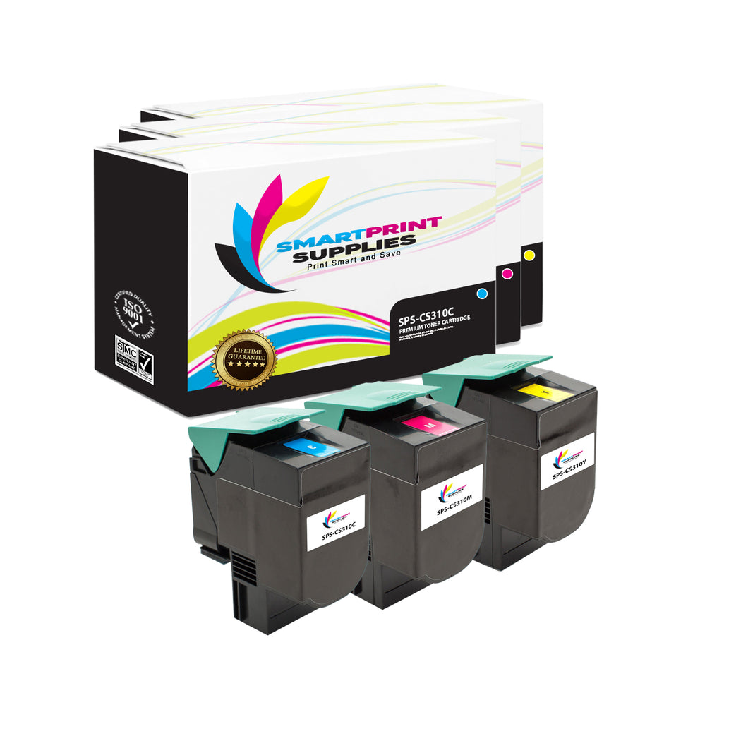 3 Pack Lexmark CS310 Replacement Cyan Toner Cartridge by Smart Print Supplies