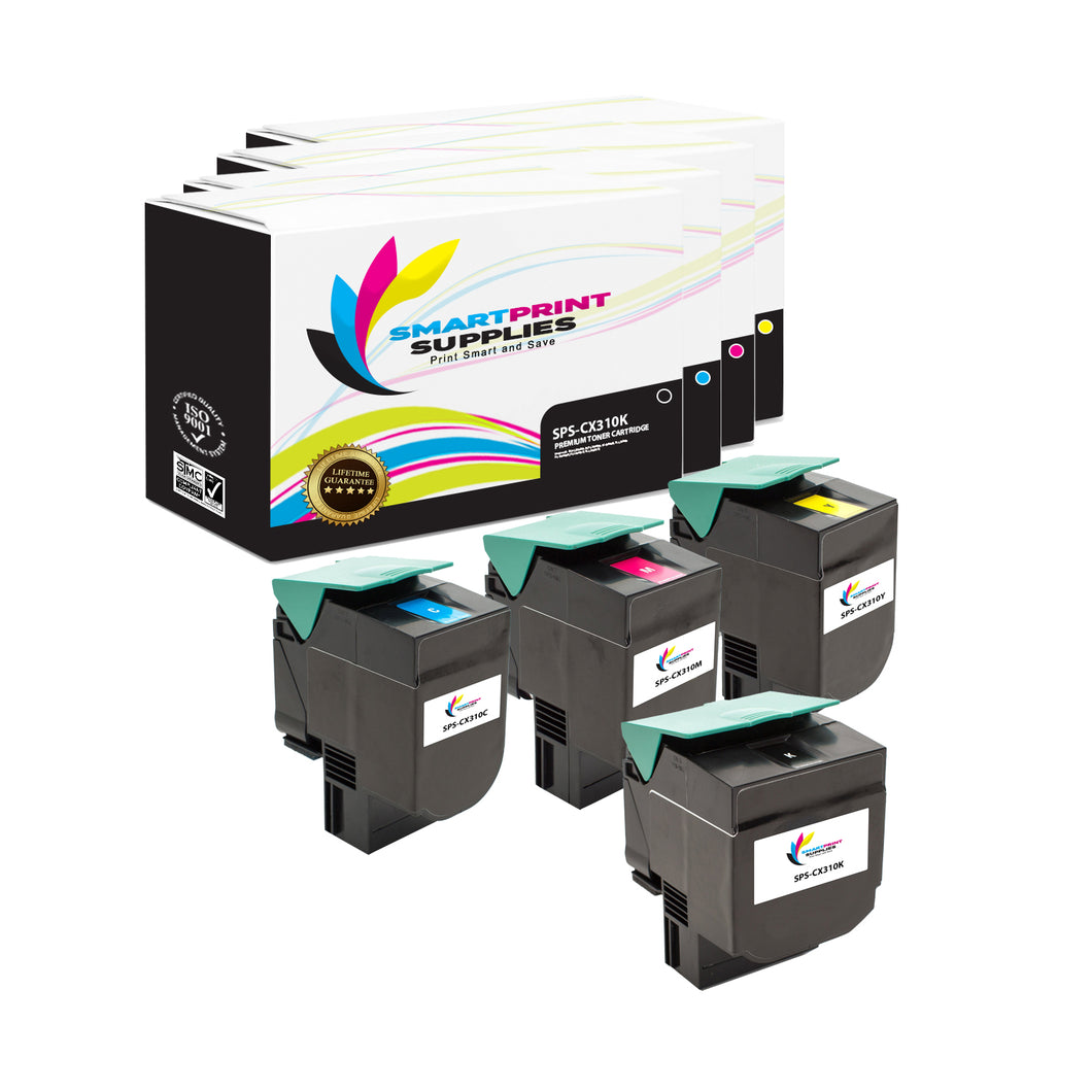 Lexmark CX310 Replacement 4 Colors Toner Cartridge by Smart Print Supplies /2500 per black cartridge, and 2000 per color cartridge Pages