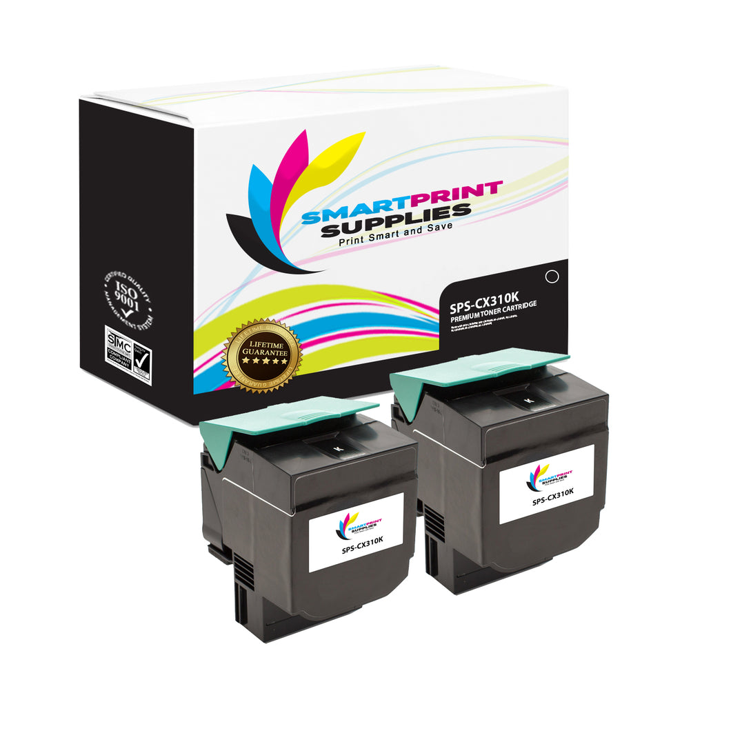 2 Pack Lexmark CX310 Replacement Black Toner Cartridge by Smart Print Supplies