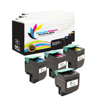 4 Pack Lexmark CX410 Replacement (CMYK) Toner Cartridge by Smart Print Supplies