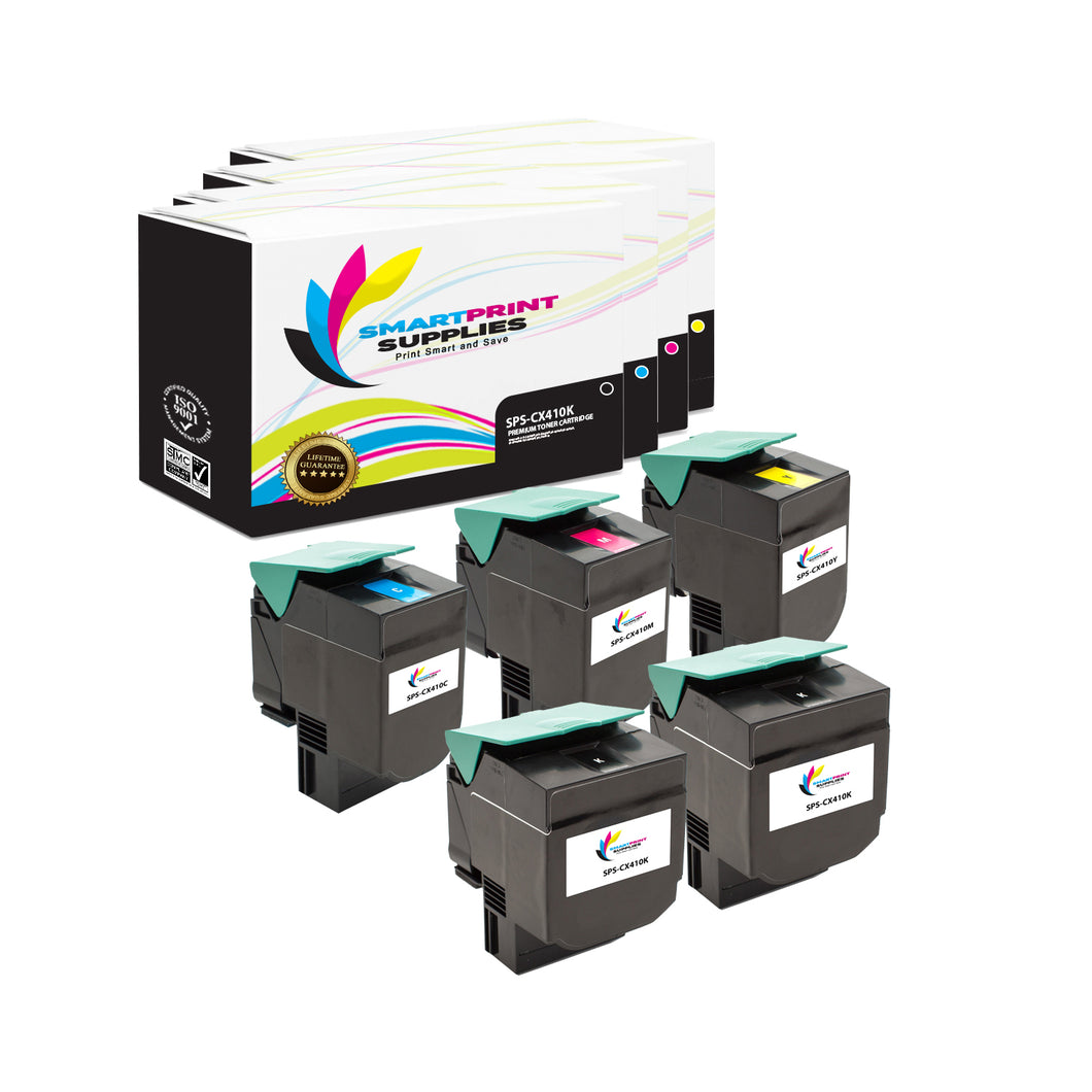 5 Pack Lexmark CX410 Replacement (CMYK) Toner Cartridge by Smart Print Supplies