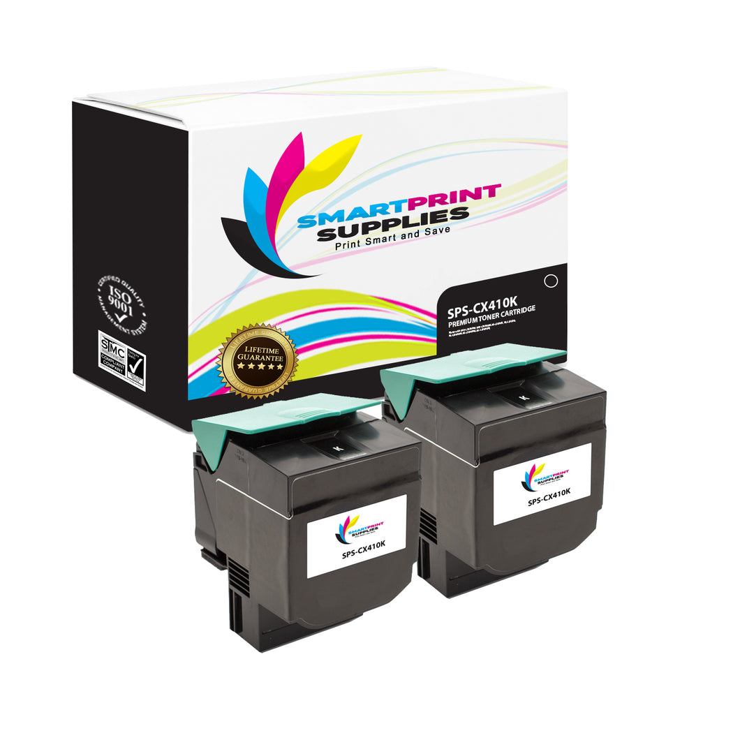 2 Pack Lexmark CX410 Replacement Black Toner Cartridge by Smart Print Supplies