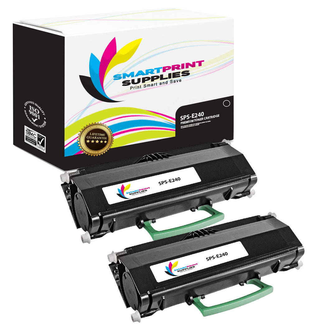 2 Pack Lexmark E240 Replacement Black Toner Cartridge by Smart Print Supplies