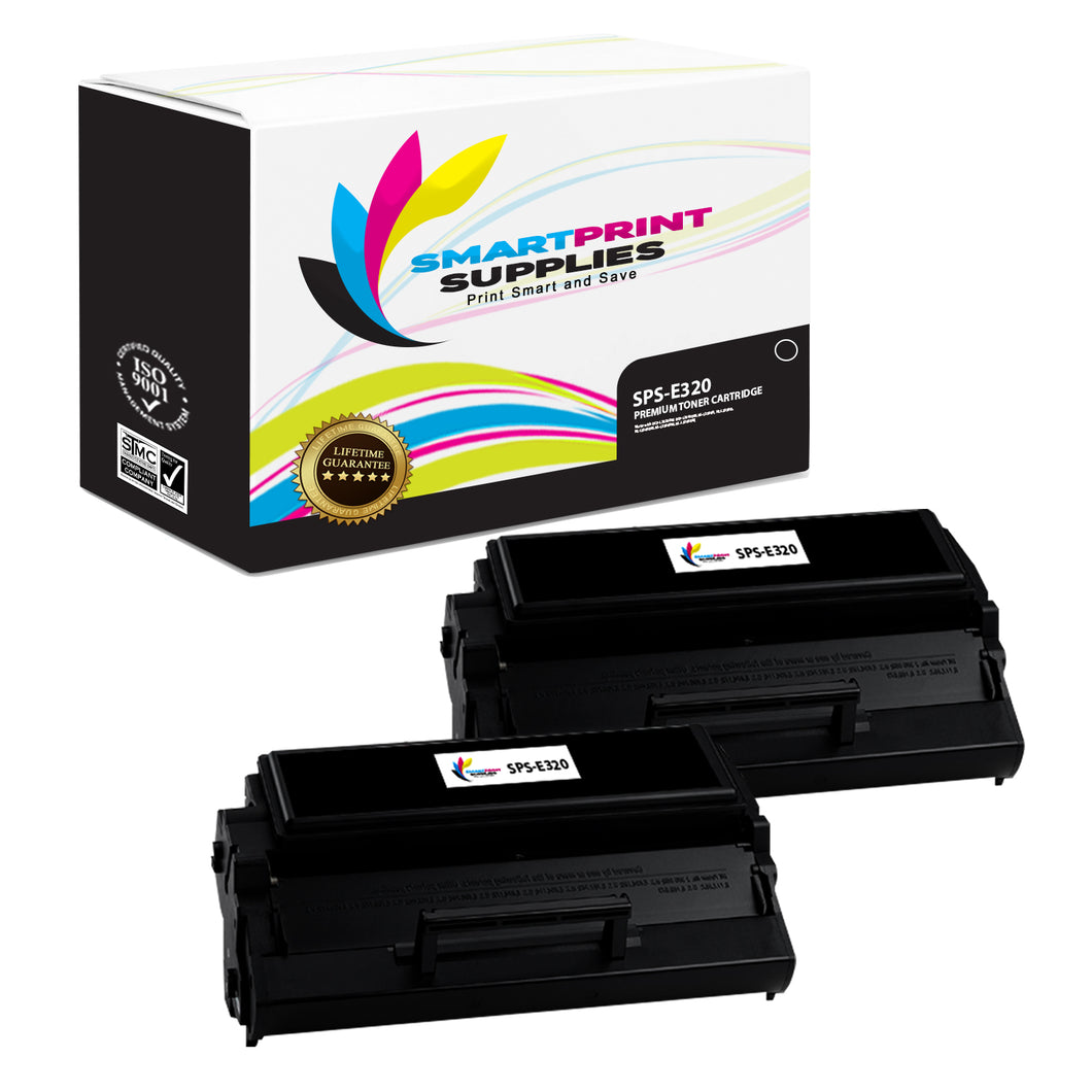2 Pack Lexmark E320 Replacement Black Toner Cartridge by Smart Print Supplies