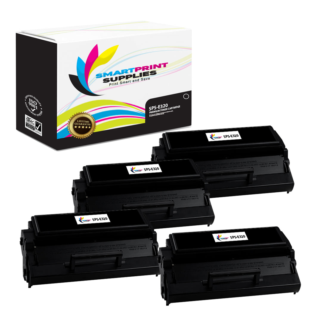 4 Pack Lexmark E320 Replacement Black Toner Cartridge by Smart Print Supplies