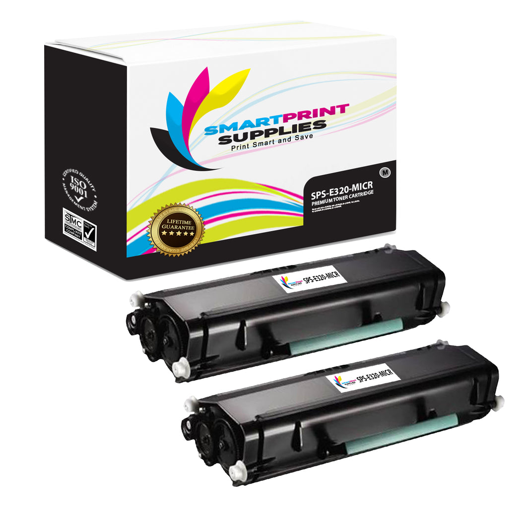 2 Pack Lexmark E320 Replacement Black MICR Toner Cartridge by Smart Print Supplies