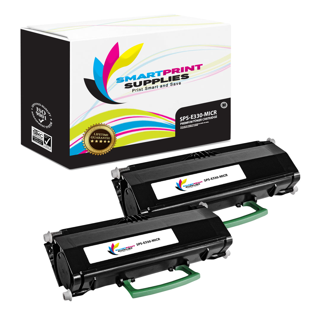 2 Pack Lexmark E330 Replacement Black MICR Toner Cartridge by Smart Print Supplies
