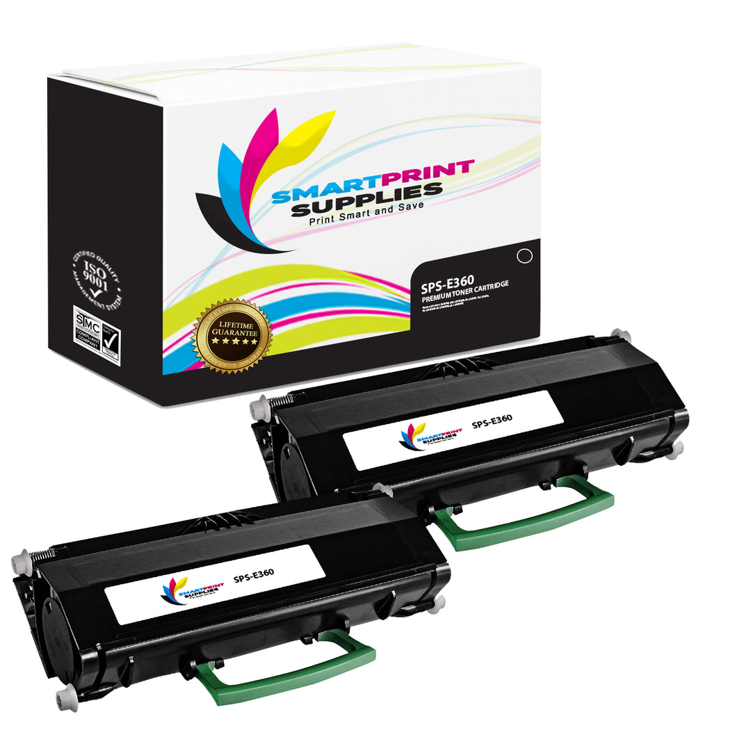 2 Pack Lexmark E360 Replacement Black Toner Cartridge by Smart Print Supplies