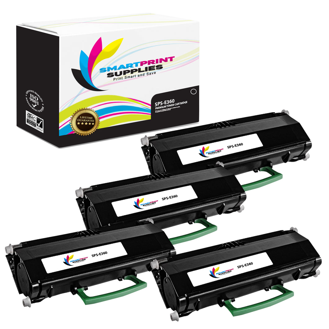 4 Pack Lexmark E360 Replacement Black Toner Cartridge by Smart Print Supplies