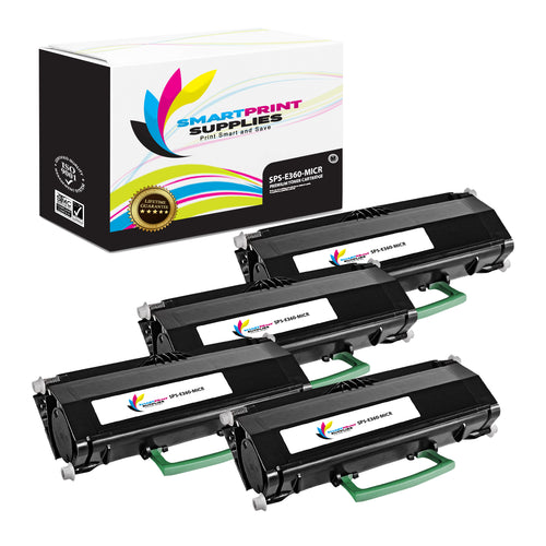 4 Pack Lexmark E360 Replacement Black MICR Toner Cartridge by Smart Print Supplies