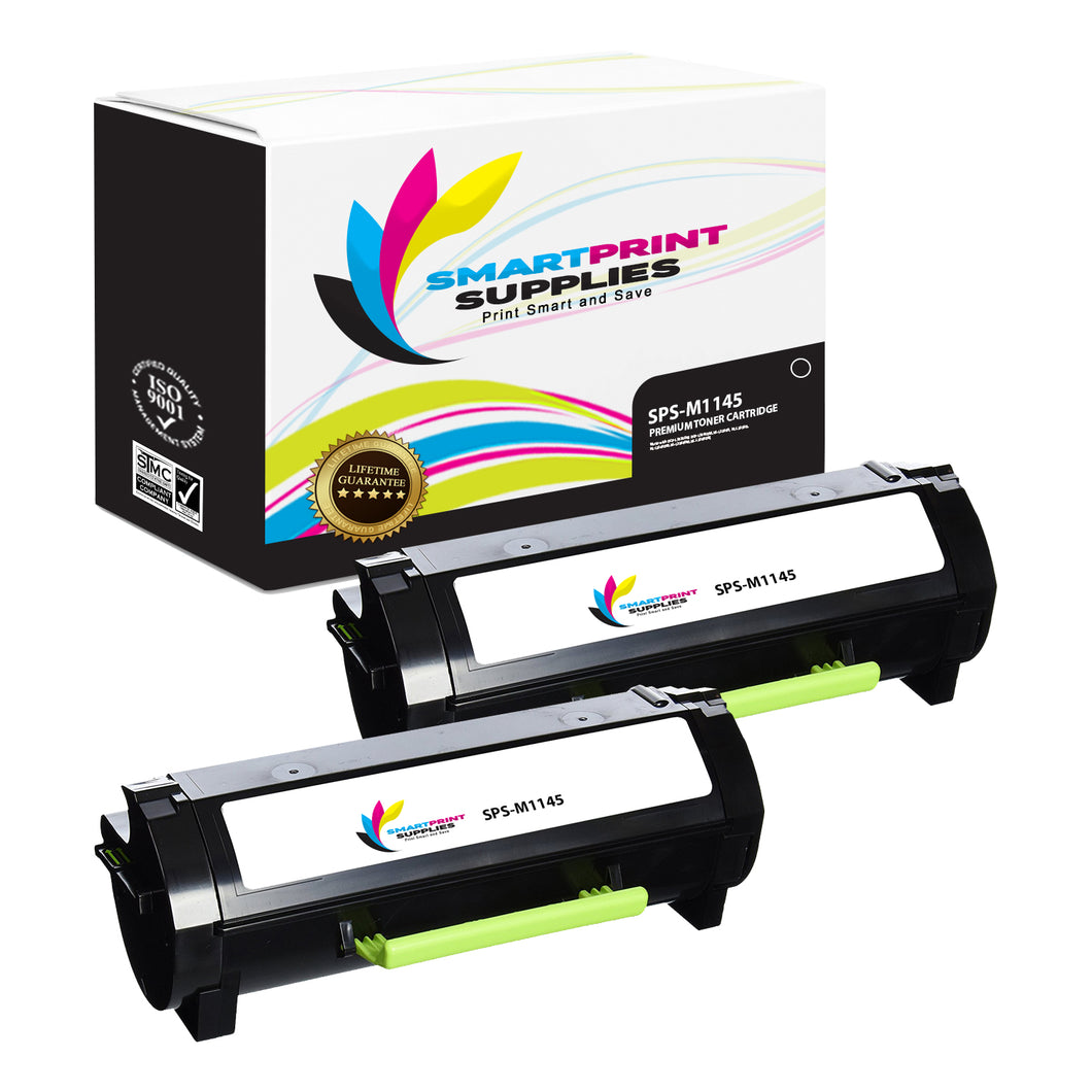 2 Pack Lexmark M1145 Replacement Black Toner Cartridge by Smart Print Supplies
