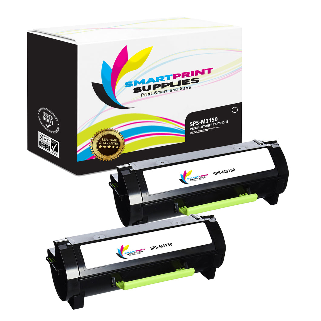 2 Pack Lexmark M3150 Replacement Black Toner Cartridge by Smart Print Supplies