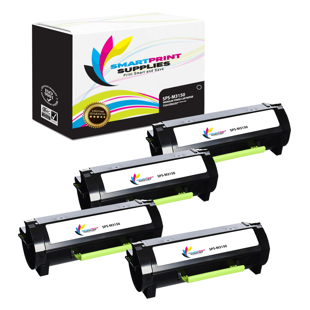 4 Pack Lexmark M3150 Replacement Black Toner Cartridge by Smart Print Supplies
