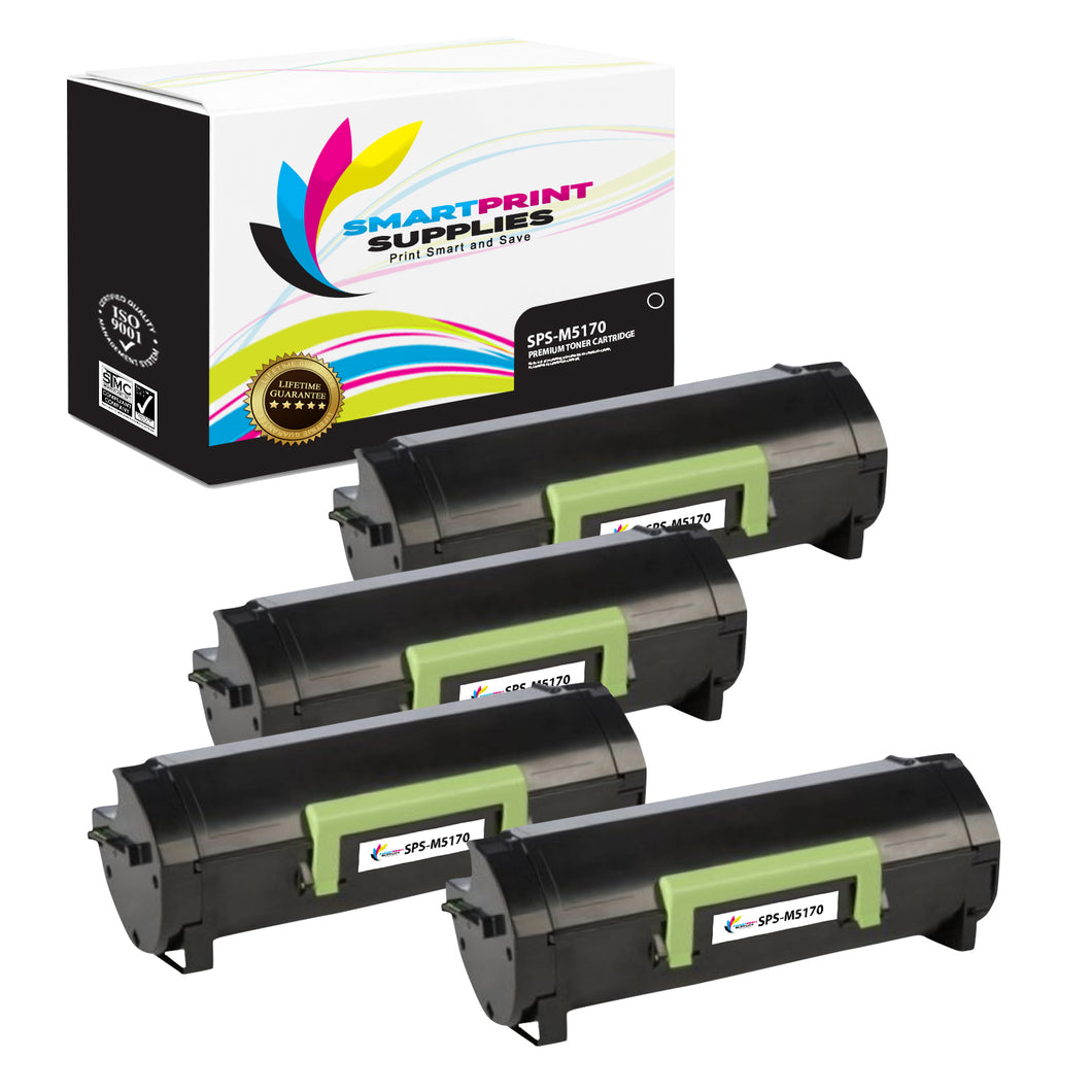4 Pack Lexmark M5170 Replacement Black Toner Cartridge by Smart Print Supplies