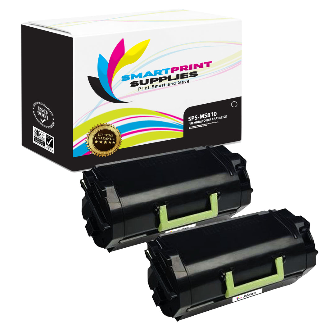 2 Pack Lexmark MS810 Replacement Black Toner Cartridge by Smart Print Supplies