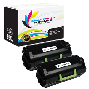 2 Pack Lexmark MX710 Replacement Black Toner Cartridge by Smart Print Supplies