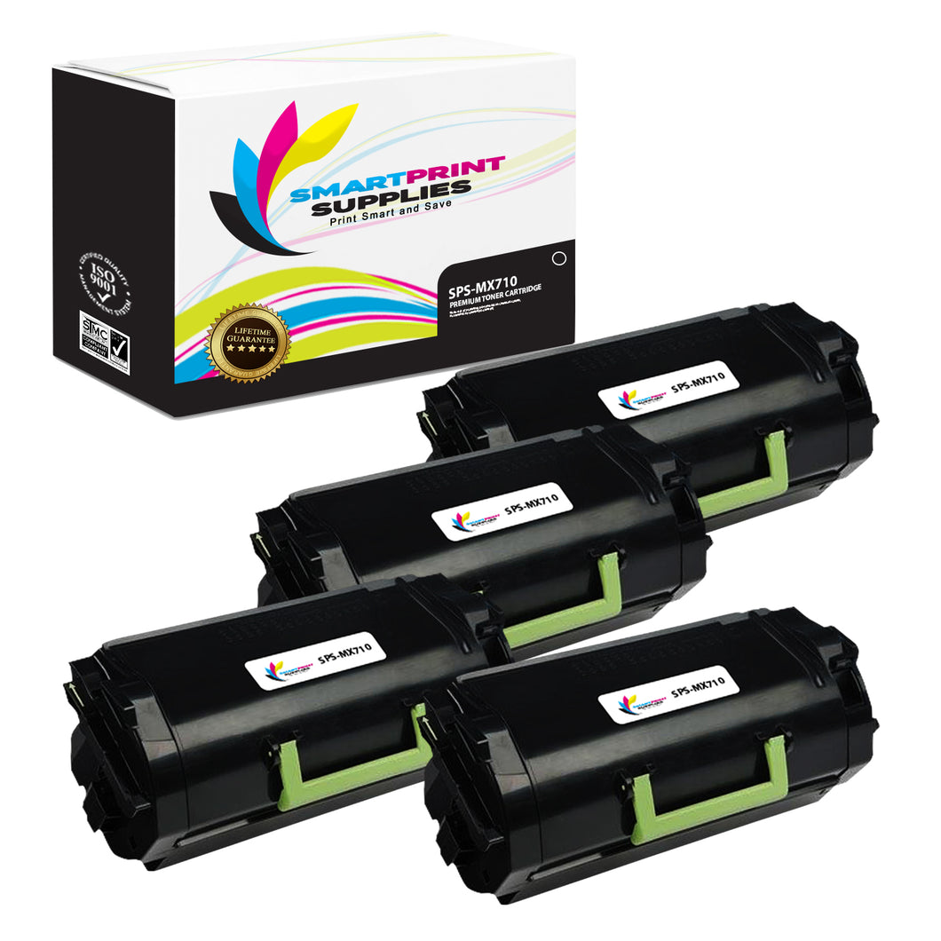 4 Pack Lexmark MX710 Replacement Black Toner Cartridge by Smart Print Supplies