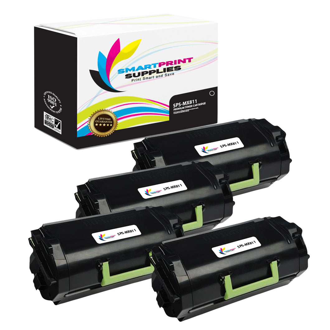 4 Pack Lexmark MX811 Replacement Black Toner Cartridge by Smart Print Supplies