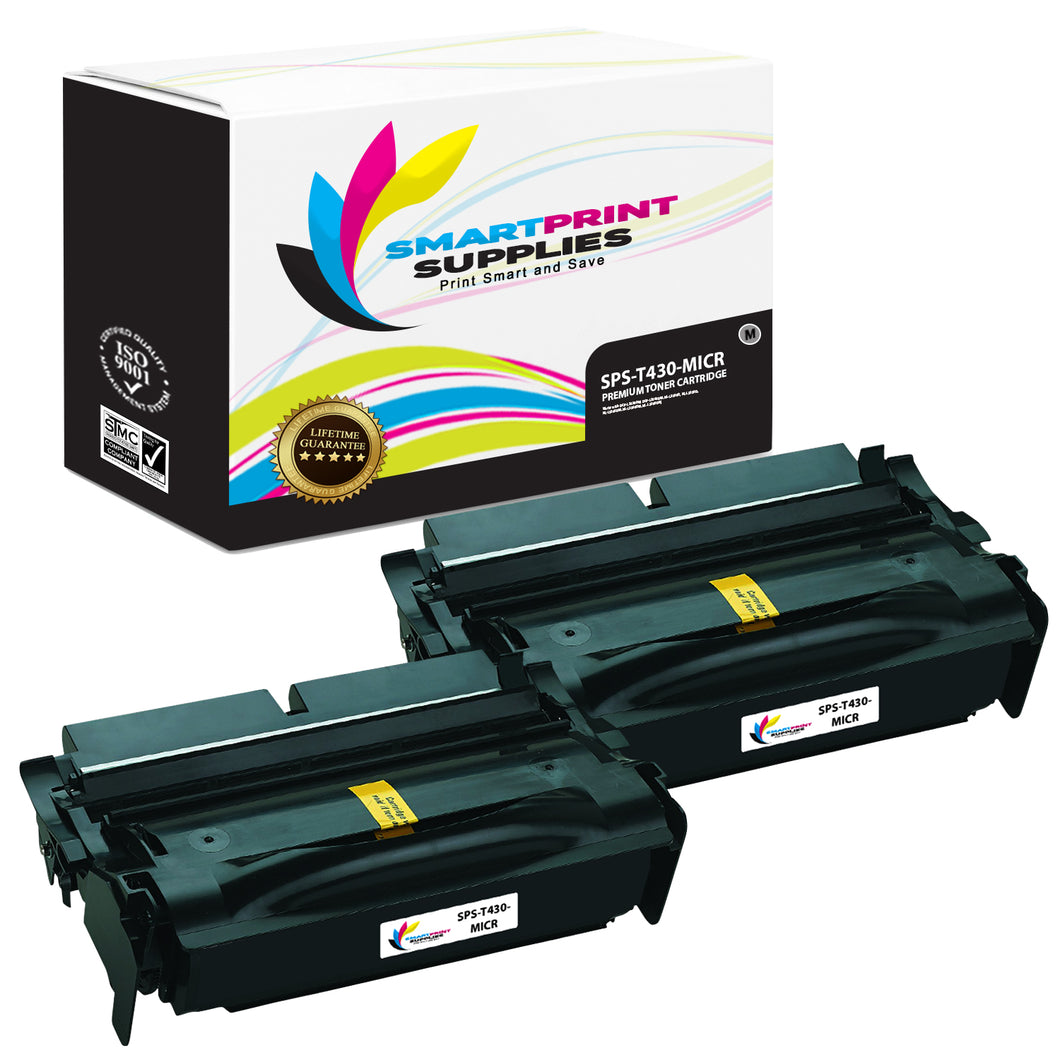 2 Pack Lexmark T430 Replacement Black MICR Toner Cartridge by Smart Print Supplies
