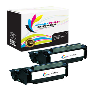 2 Pack Lexmark T520 Replacement Black Toner Cartridge by Smart Print Supplies