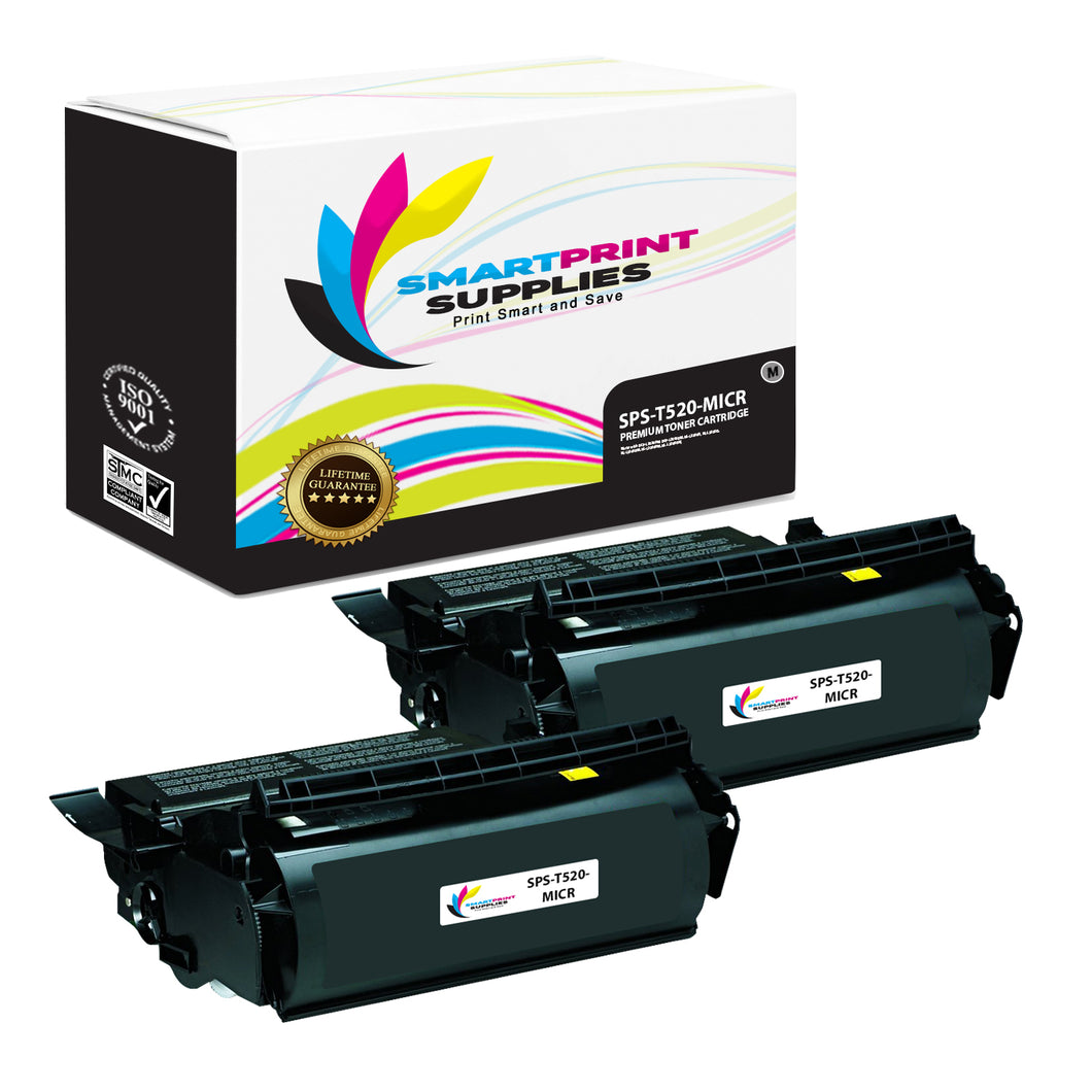 2 Pack Lexmark T520 Replacement Black MICR Toner Cartridge by Smart Print Supplies