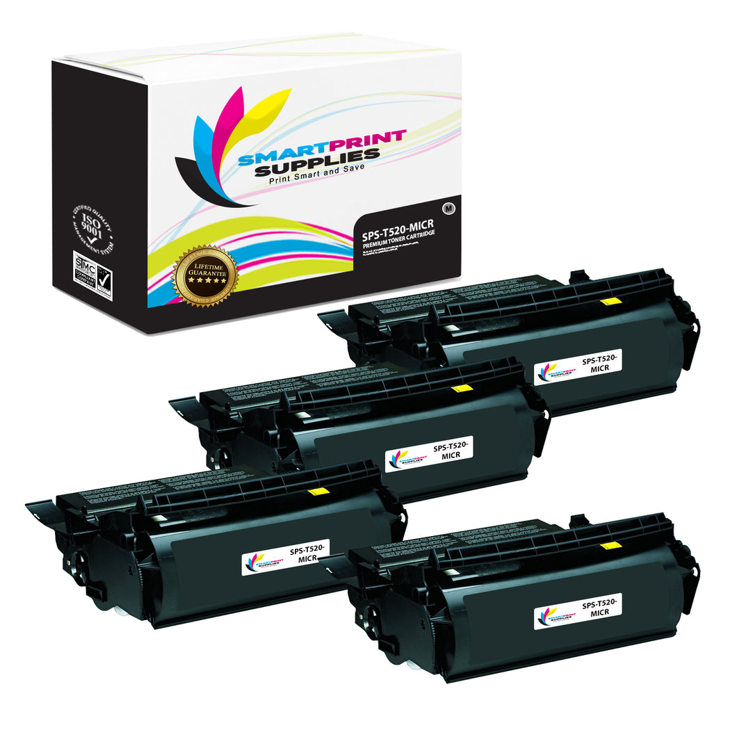 4 Pack Lexmark T520 Replacement Black MICR Toner Cartridge by Smart Print Supplies
