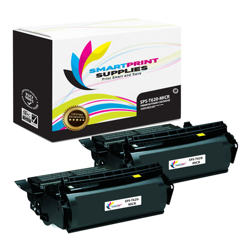 2 Pack Lexmark T620 Replacement Black MICR Toner Cartridge by Smart Print Supplies