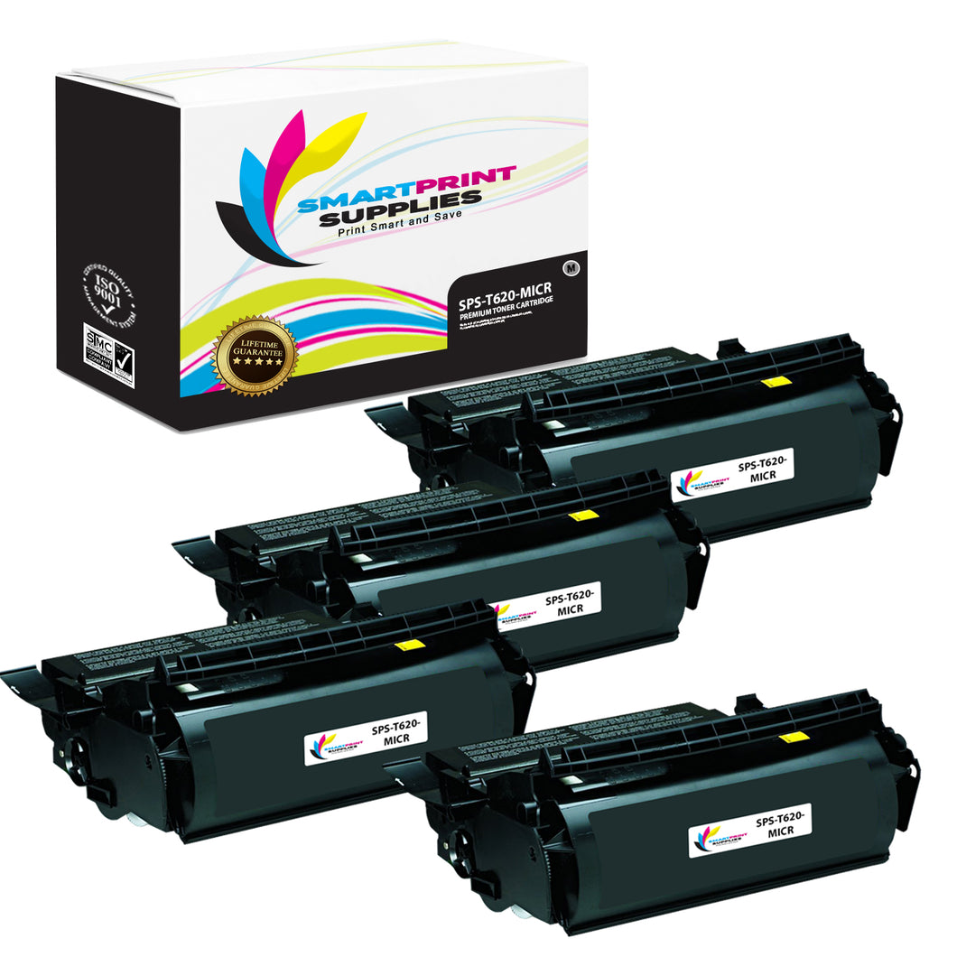 4 Pack Lexmark T620 Replacement Black MICR Toner Cartridge by Smart Print Supplies