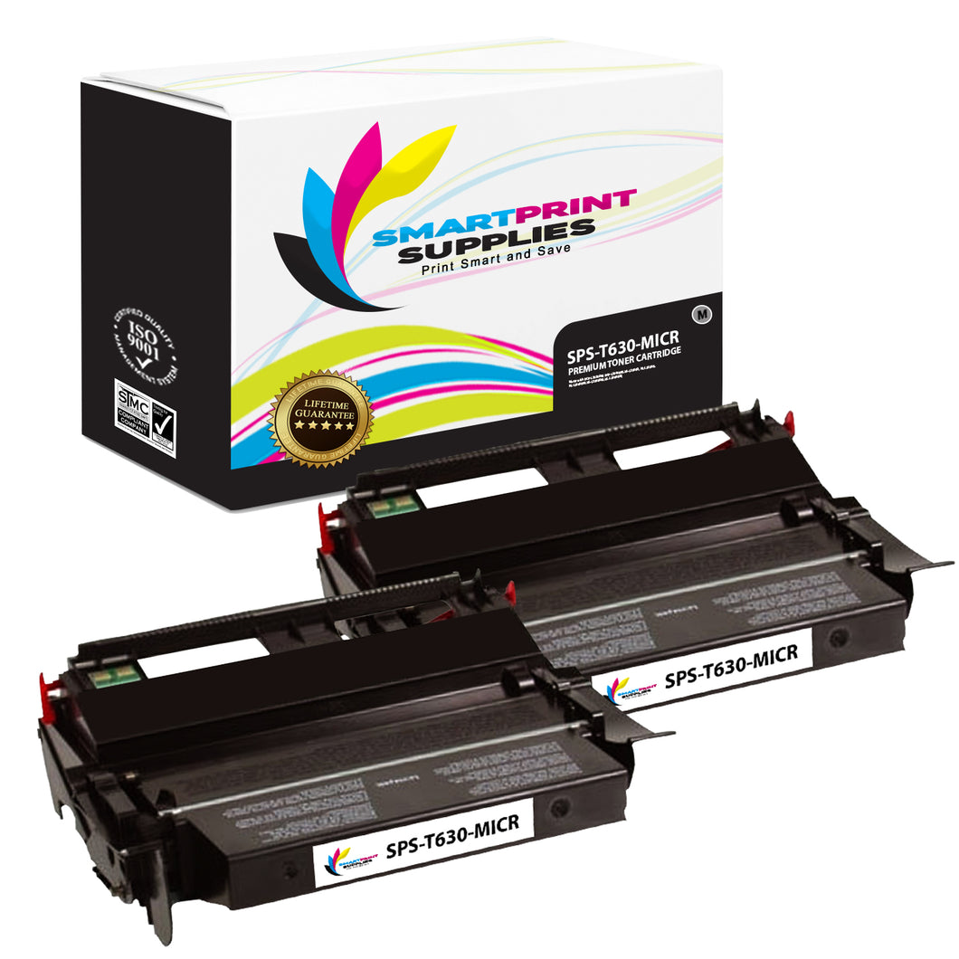 2 Pack Lexmark T630 Replacement Black MICR Toner Cartridge by Smart Print Supplies