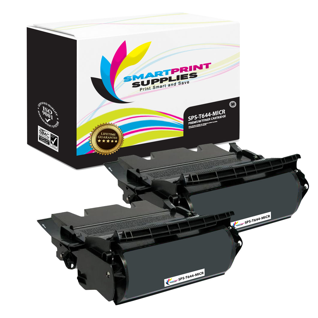2 Pack Lexmark T644 MICR Replacement MICR Toner Cartridge by Smart Print Supplies