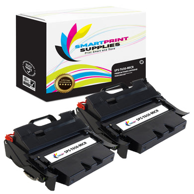 2 Pack Lexmark T650 Replacement Black MICR Toner Cartridge by Smart Print Supplies