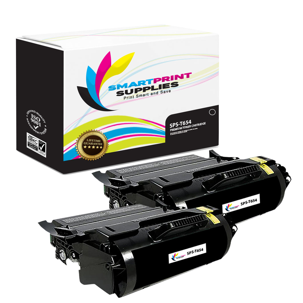 2 Pack Lexmark T654 Replacement Black Toner Cartridge by Smart Print Supplies