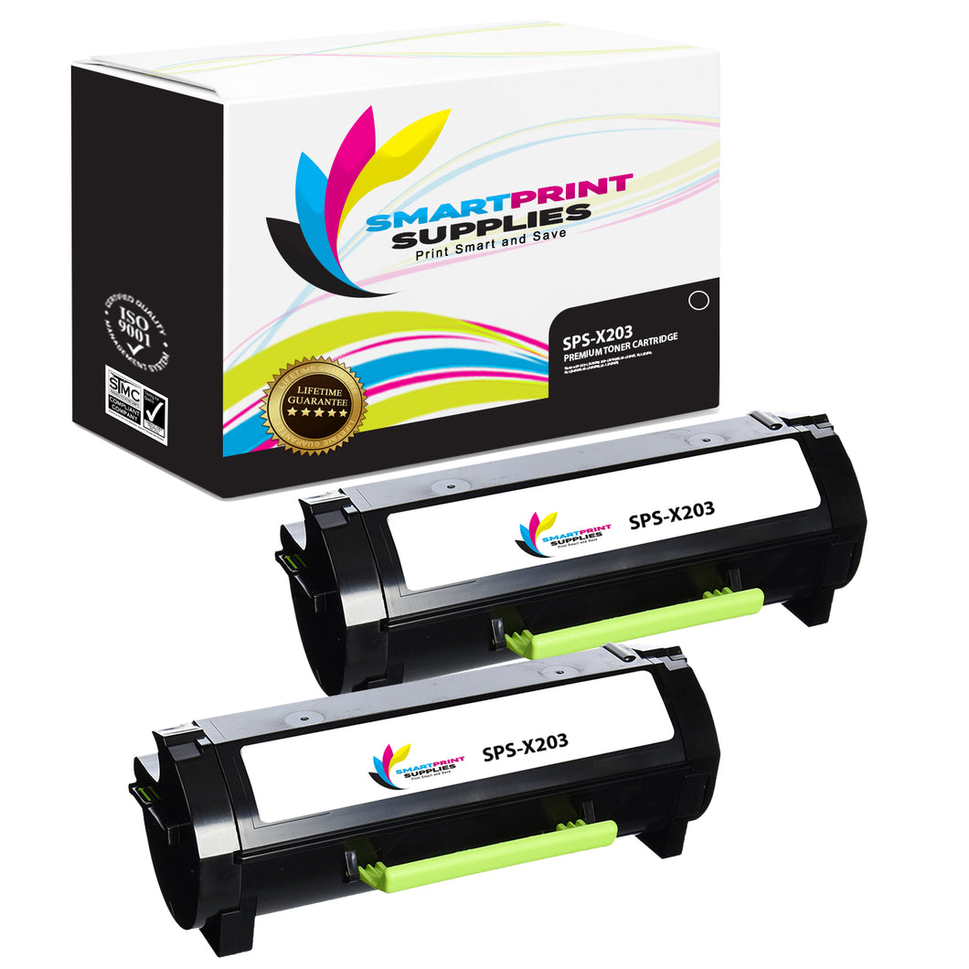 2 Pack Lexmark X203 Replacement Black Toner Cartridge by Smart Print Supplies