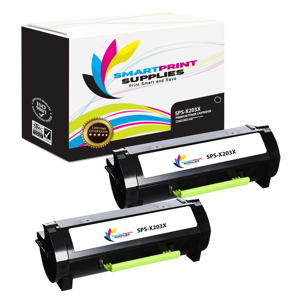 2 Pack Lexmark X203A21G Replacement Black Toner Cartridge by Smart Print Supplies