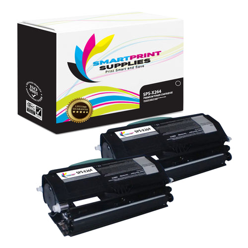 2 Pack Lexmark X264 Replacement Black Toner Cartridge by Smart Print Supplies