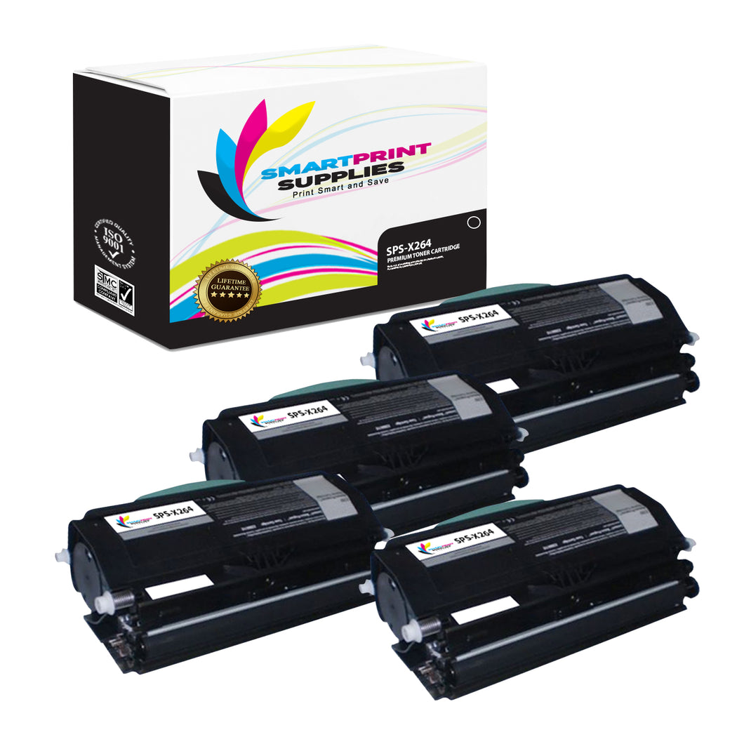 4 Pack Lexmark X264 Replacement Black Toner Cartridge by Smart Print Supplies
