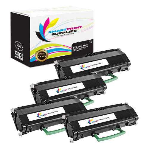 4 Pack Lexmark X364 Replacement Black MICR Toner Cartridge by Smart Print Supplies