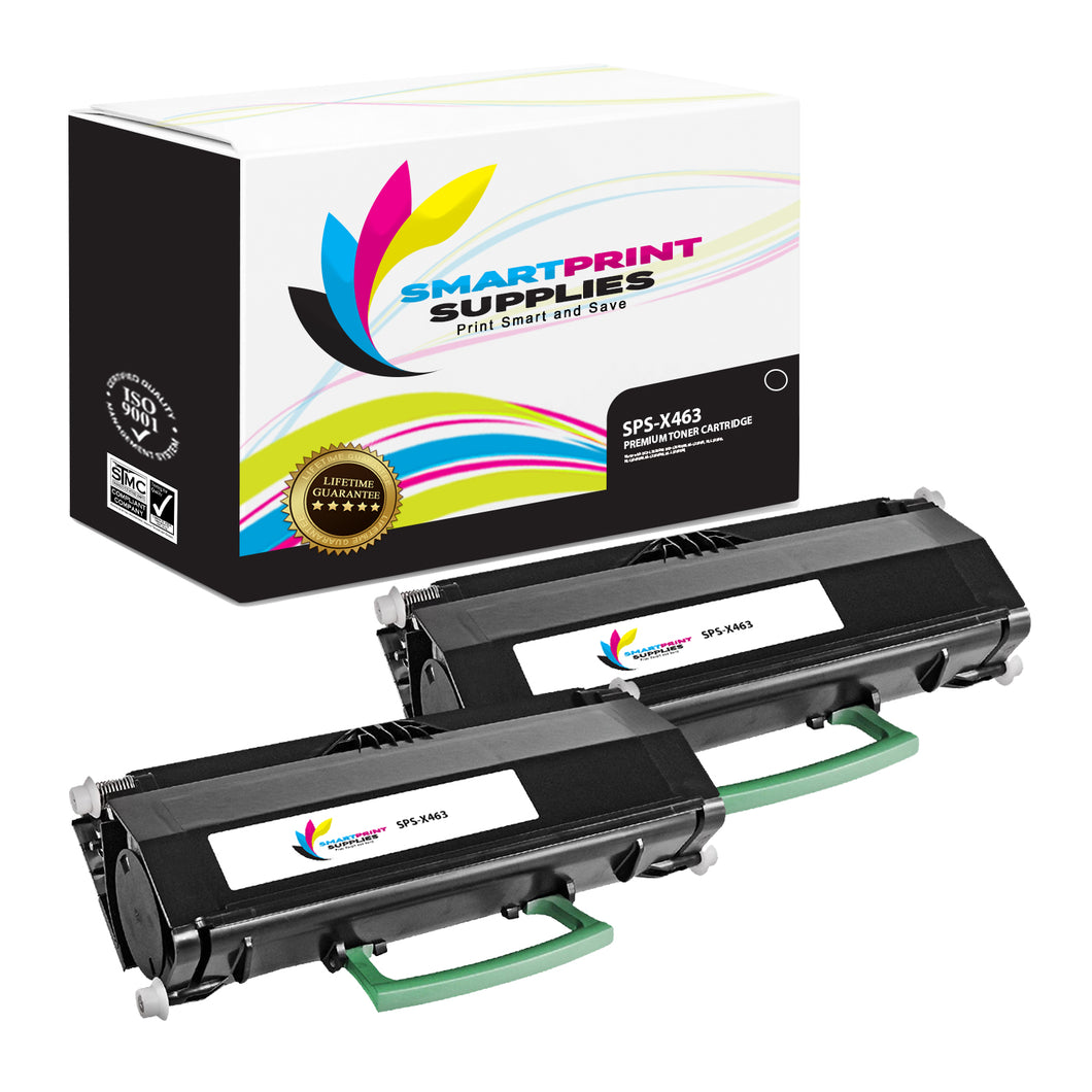 2 Pack Lexmark X463 Replacement Black Toner Cartridge by Smart Print Supplies