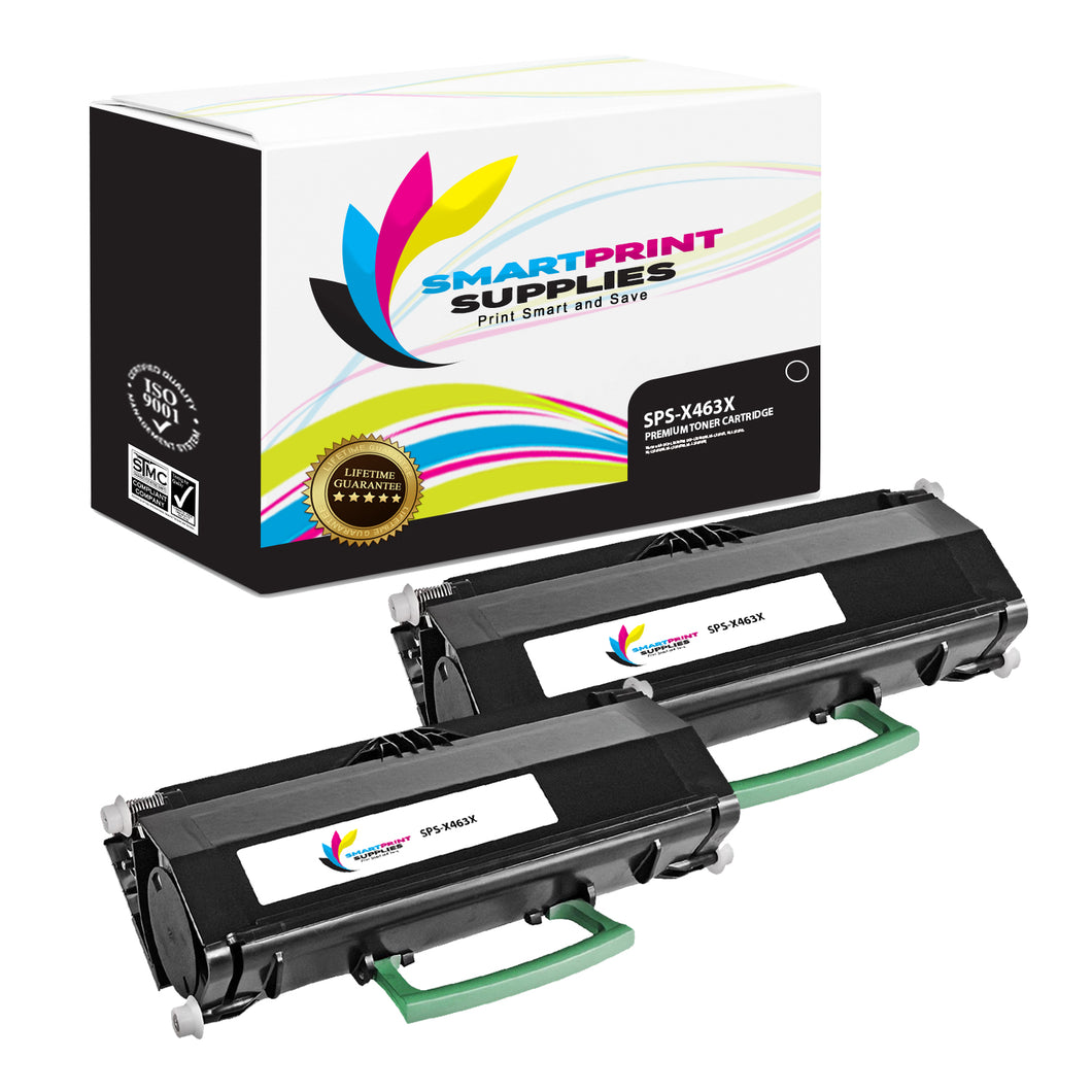 2 Pack Lexmark X463X11G Replacement Black Toner Cartridge by Smart Print Supplies