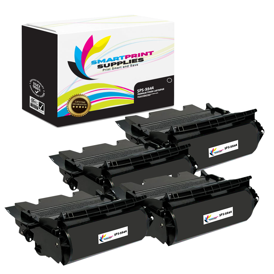 4 Pack Lexmark X644X11A Replacement Black Toner Cartridge by Smart Print Supplies