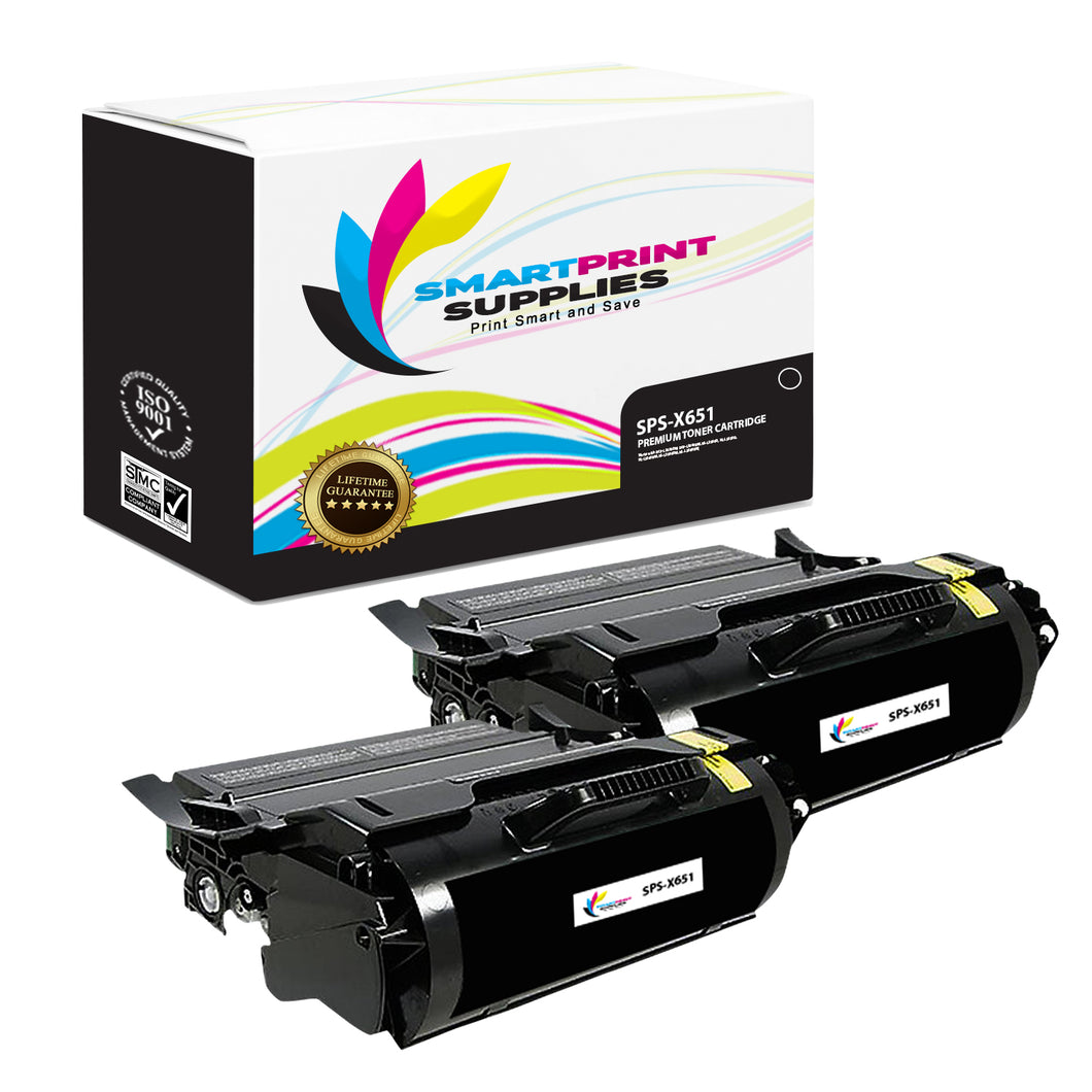 2 Pack Lexmark X651 Replacement Black Toner Cartridge by Smart Print Supplies